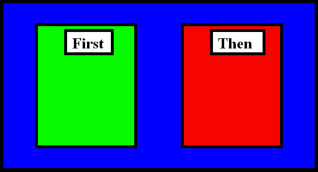 First-then board where u0026quot;firstu0026quot; box is green and u0026quot;Thenu0026quot; box is red ...