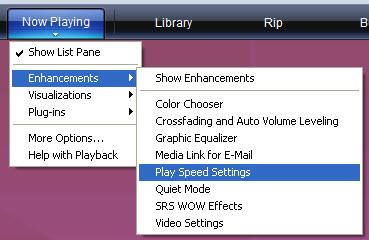 Screenshot of Windows Media Player