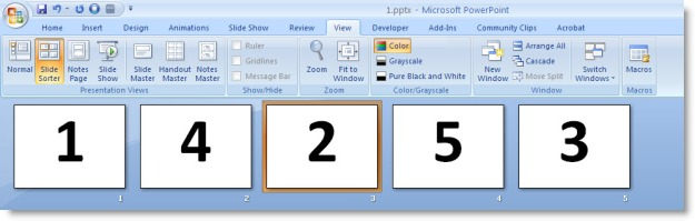 Screenshot of Slide Sorter view with slides out of order