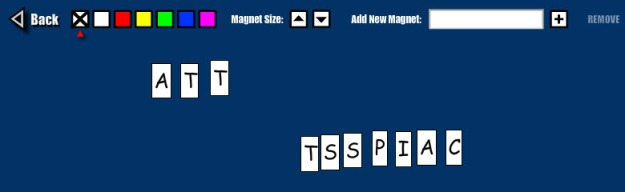 screen shot of word magnets