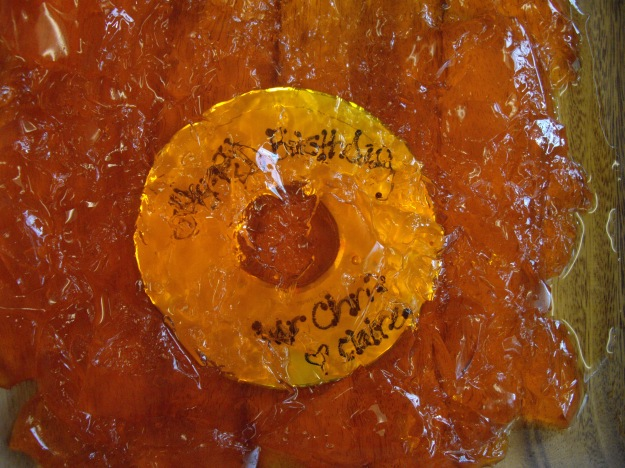 CD in orange Jell-O