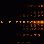 A.T.TIPSCAST Logo with orange Matrix-like theme