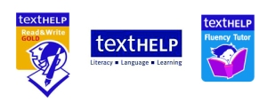 Read & Write Gold, TextHelp, and Fluency Tutor logos