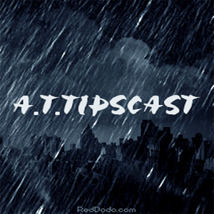Attipcast text with a rainy background. Cemetary in the distance.