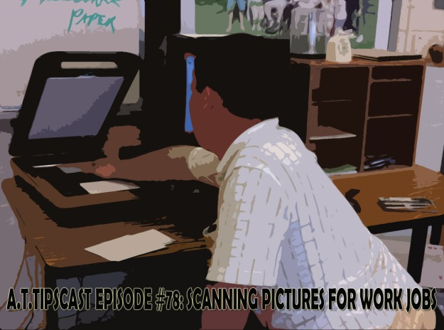 picture with diluting effect on it of student scanning a picture