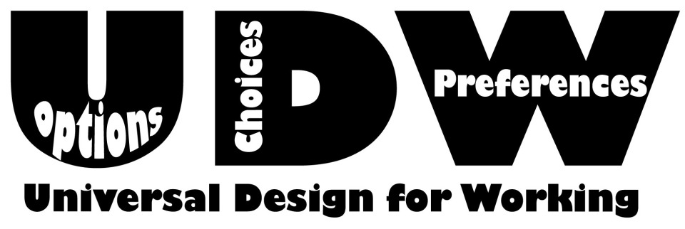 Universal Design for Working below the abbreviation UDW with the words options, choices and preference built in