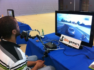 Picture of person controlling an onscreen car using his chin