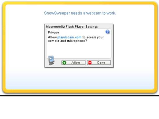 Screenshot of message asking for user to allow access to webcam