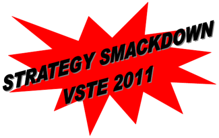 "Visual of the text ""Strategy Smackdown VSTE 2011"" over a red starburst"