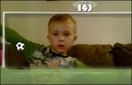 Picture of boy playing the soccer game in Web Cam Mania