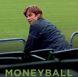 cropped photo of Brad Pitt in the movie poster for Moneyball