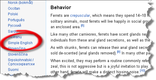 screenshot the Simple English language option in Wikipedia