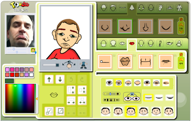 Screenshot of Traitr tool with picture of chris making a sad face next to an avatar of a man who looks like chris making a sad face.