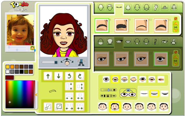 Screenshot of the Traitr tool with a digital picture of a 4 yo girl uploaded next to a comic avatar of the same girl.