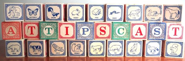 The A.T.TIPSCAST Spelled out in children's blocks