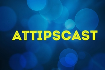 A.T.TIPSCAST written in yellow block text with blue background surrounded by faded white bubbles