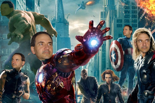 Chris's face superimposed over the Avenger's faces