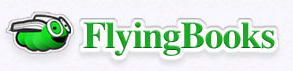 Flying Books logo (green book worm)