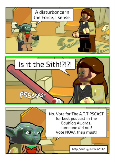 Three panel comic of Yoda talking to Quigon-Jin telling him there is a disturbance in the force because people haven't voted for the A.T.TIPSCAST