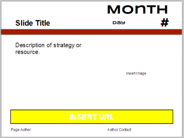 Screenshot of the template of a Calendar slides