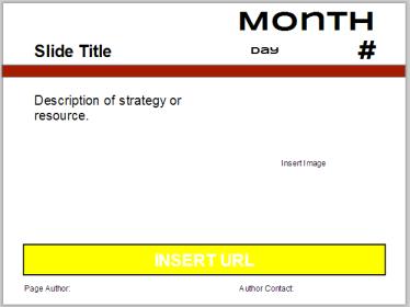 Screenshot of the template of a Calendar slides