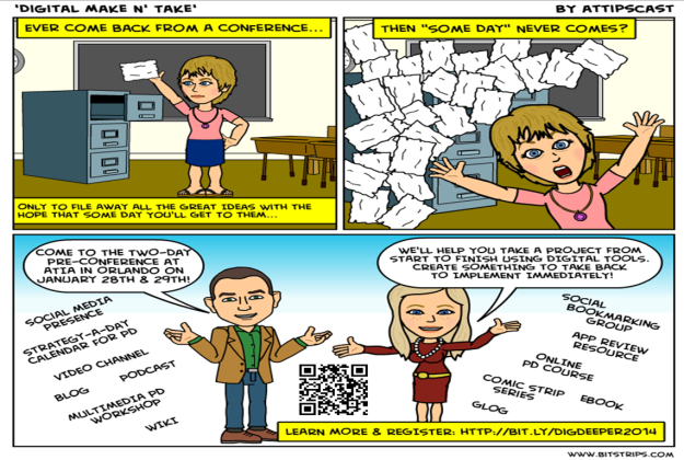 Comic Strip Advertisement for Digging Deeper Presconference. It is a three panel comic.