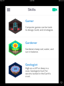Image of three badges: Gamer, Gardener, and Geologist