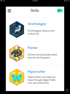 Image of three badges: Ornthologist, Painter, and Papercrafter