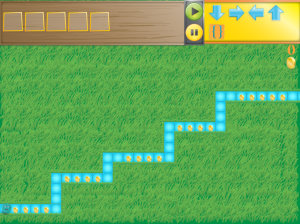 A digital green field with a blue path being cut through it. Control arrows are pictured in the top right.