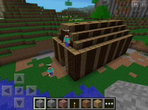 Students demonstrate their knowledge of Native American culture by constructing a longhouse in Minecraft.