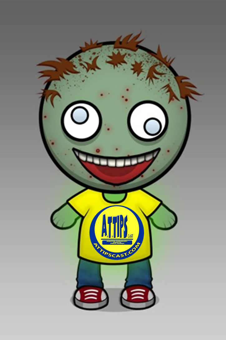 Infected Cartoon Zombie wearing an A.T.TIPSCAST shirt