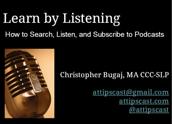 Micrphone surrounded by text for title slide for the Learn By Listening Podcast Tutorial slidedeck