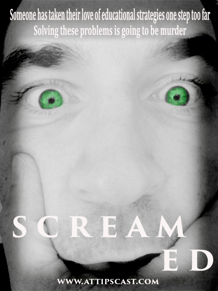"Image of Chris holding face with the text ""screamed"" at the bottom."