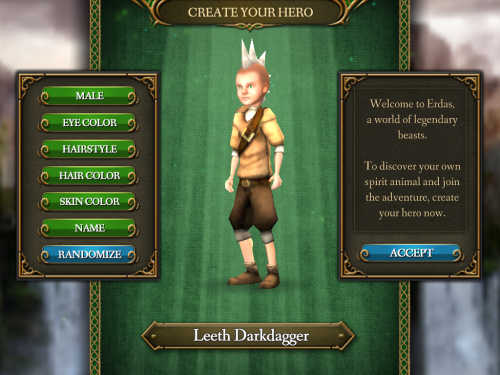 screenshot of character creation screen of spirit animals