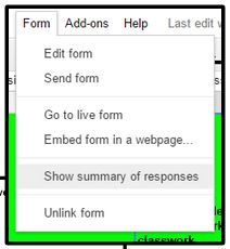 Go to Form tab and select Show Summary of Responses