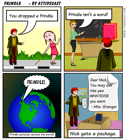4 cell comic describing the story Frindle.