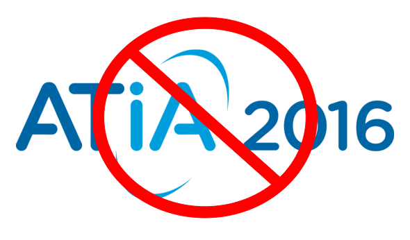 ATIA 2016 logo with a null sign over it